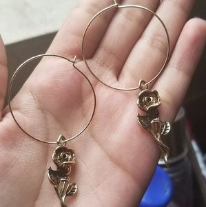 Small hoop gold rose earrings NEW